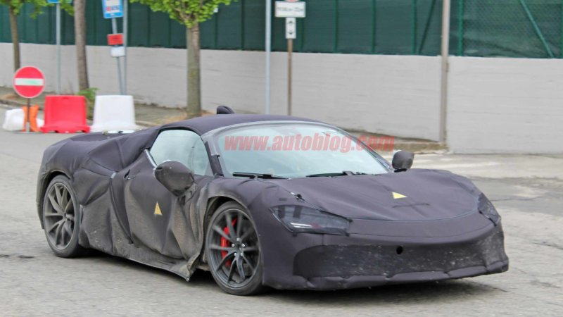 Ferrari mid-engine hybrid supercar captured in spy photos