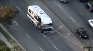 Stolen RV destroyed by woman during LAPD pursuit