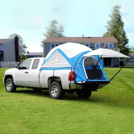 This tent makes it easy to go camping in your pickup